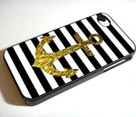 Anchor Gold Bling Glitter Black Stripes - Custom iPhone 4/4S, iPhone 5, Samsung Galaxy S3 Case