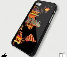 Aztec pattern on world map case - Custom iPhone 4/4S, iPhone 5, Samsung Galaxy S3 Case