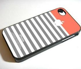 Coral Grey Stripe Apple - Custom iPhone 4/4S, iPhone 5, Samsung Galaxy S3 Case