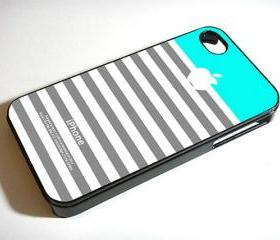 Coral Grey Stripe Blue Apple - Custom iPhone 4/4S, iPhone 5, Samsung Galaxy S3 Case