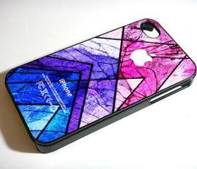 Geometric Colorful Pattern Cracked Out - Custom iPhone 4/4S, iPhone 5, Samsung Galaxy S3 Case