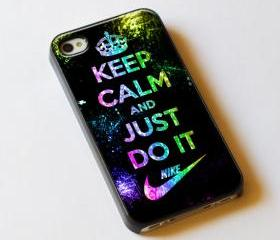 Keep Calm And Just Do It Nike Logo - Custom iPhone 4/4S, iPhone 5, Samsung Galaxy S3 Case