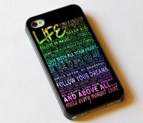 Life Quote Sparkle Image - Custom iPhone 4/4S, iPhone 5, Samsung Galaxy S3 Case