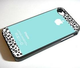 Tiffany Teal and Black Leopard - Custom iPhone 4/4S, iPhone 5, Samsung Galaxy S3 Case